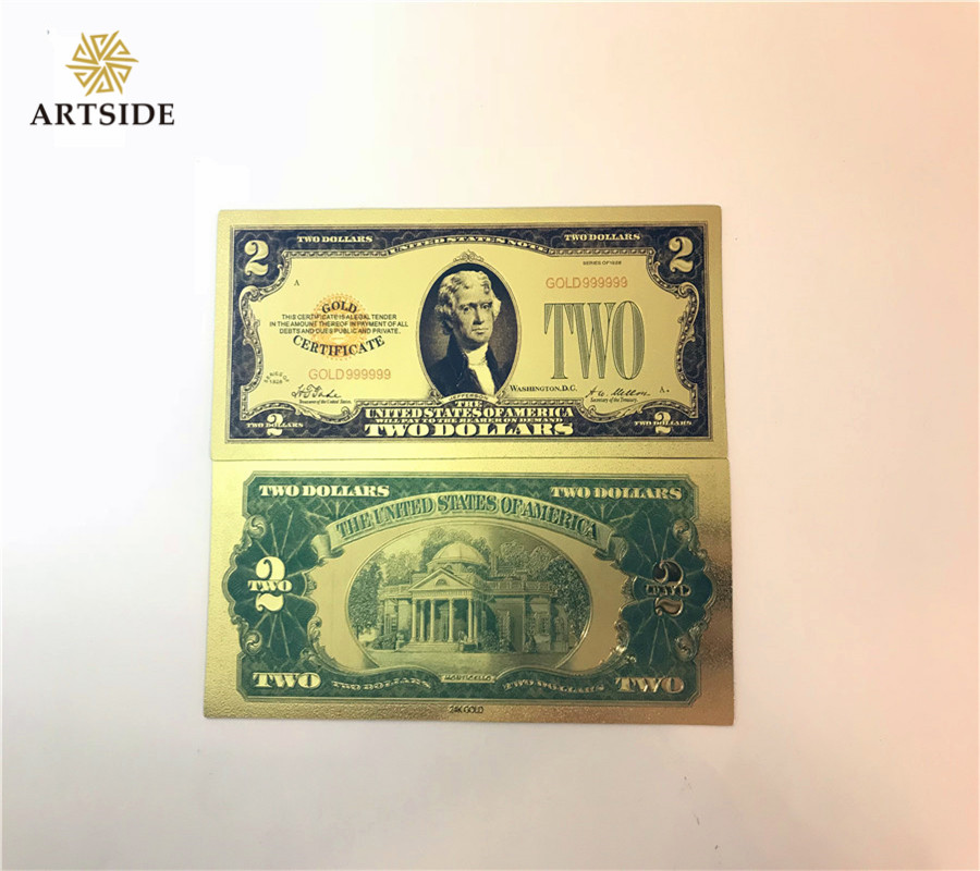 US $1 28 5% OFF World Currency 24K Gold Banknote Golden 1928 America 2  Dollar Bill Paper Money Souvenir Gift-in Gold Banknotes from Home & Garden  on
