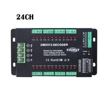 DMX512 מפענח 24 ערוצים RGB LED רצועת אורות נהג דימר סטנדרטי DMX512 אות DC9V 24V DMX בקר 24CH