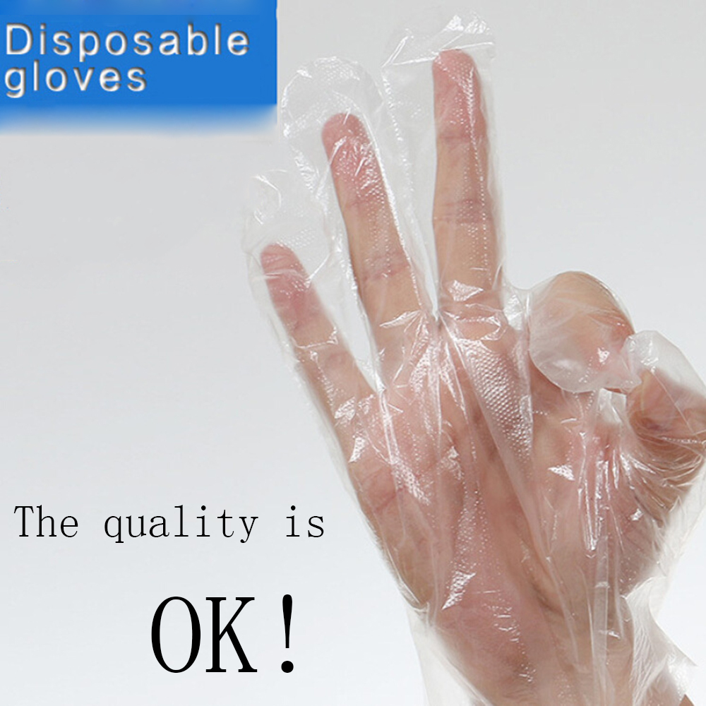 100pcs Plastic Disposable Gloves Restaurant Home Service Catering Hygiene Clear