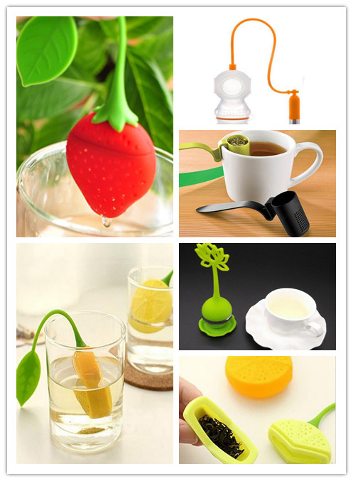 Hot Sale Unique Cute Designed 1Pc Food Grade Silicone/Stainless Steel Drinker Teapot Teacup Herb Tea Strainer Filter Infuser