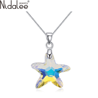 Colorful Five Pointed Star Necklaces Crystal From Swarovski Necklace Pendants For Women Party Jewelry Accessories NidaleeN1617