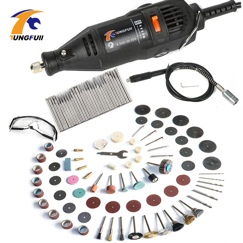 цена на Tungfull Mini Drills 220V/110V Variable Speed Electric Drill Grinder With Flexible Shaft Dremel Accessories Set Polishing