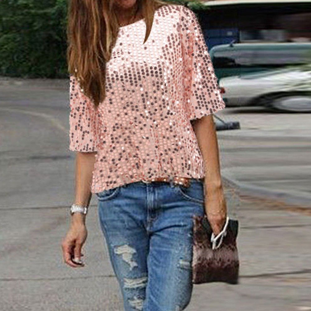 a214892bab113d Aliexpress.com : Buy Women's Shimmer Glam Glitter Sequin Embellished Sparkle  Tank Party Shiny Tops Shirt from Reliable top blouse suppliers on  Shop405628 ...