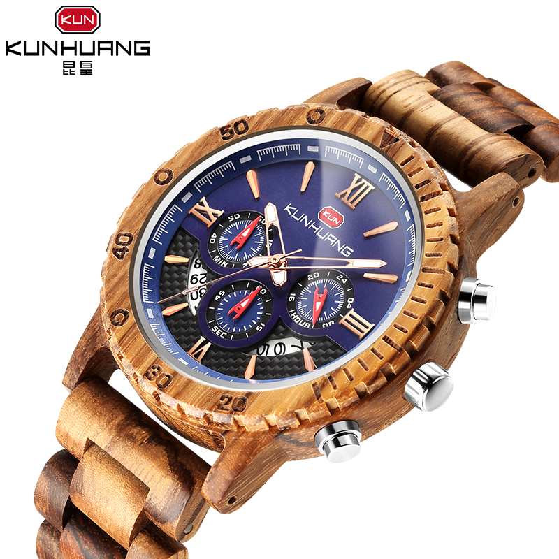 2019 Creative Men Wood Watch Mens Wooden Wrist Watches Creative Real Solid Natural Walnut Male Japan Quartz Movement Wristwatch