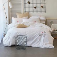 4pcs luxury egypt cotton satin love in paris bedding set embroidery duvet cover set bed sheet