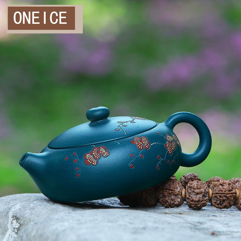 ييشينغ إبريق الشاي الشهيرة نقية أصيلة اليدوية الأخضر Muds يوم واضح الطين شقة شى شى 170cc 9 حفرة أقداح الشاي الصينية Gongfu التي الشاي-في اباريق الشاي من المنزل والحديقة على  مجموعة 1