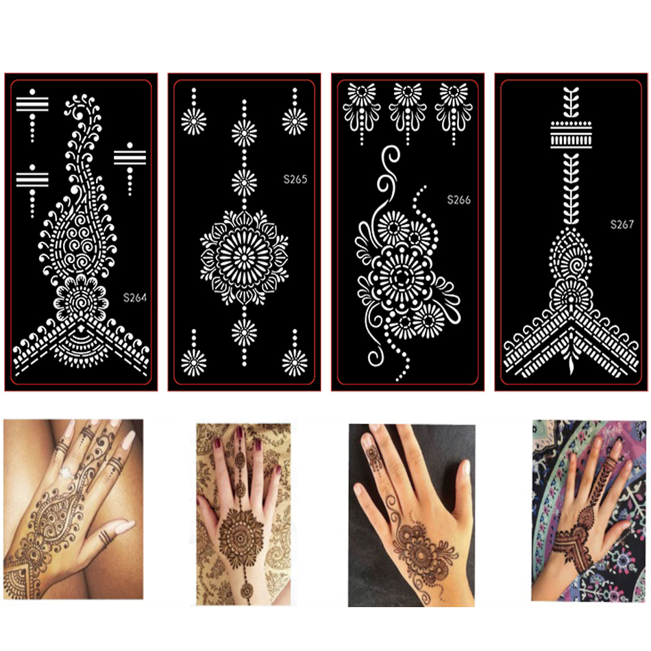 10 piezas Mehndi Henna tatuaje Stencils, temporales Glitter Airbrush ...
