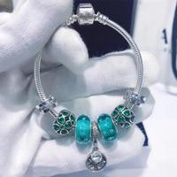 925 Sterling Silver Bracelet Popular Snake Bone Chain Four leaf Clover Tree Glass Beads DIY Pandora Charm Bracelet Female Gift