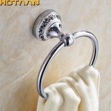 Soporte de montaje de anilla de pared para Toalla de baño de estilo Vintage, soporte de toalla, placa cromada, accesorios de baño de acero inoxidable con cerámica