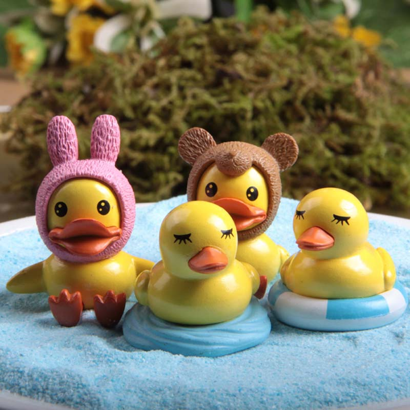 4PCS Kawaii Animals Mini Rubber Duck Figurines,DIY Crafts Gnomes ...
