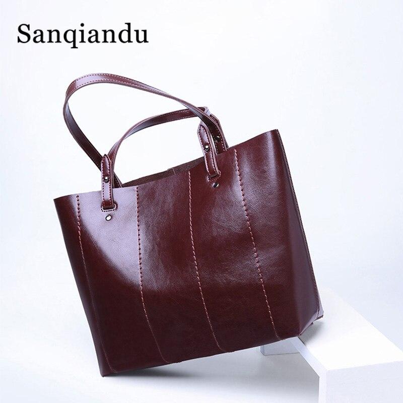 Sac à main femme huile cire cuir dames sacs à bandoulière Shopper sac en cuir seau sac sacs à main fourre-tout pour femme Vintage rétro sacs