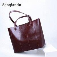 Women HandBag Oil Wax Leather Ladies Shoulder Bags Shopper Bag Leather Bucket Bag Handbags Totes for Woman Vintage Retro Bags