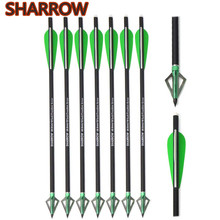 6/12Pcs 1617 Crossbow Bolts Tip Nock Carbon Arrows with Replacement Fix Blade Arrowheads For Outdoor Shooting Accessories