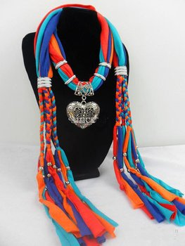12pcs 2013 Hot oragne and blue Girls Scarf jewelry Pendant necklace womens Soft scarves Jewellery Mix design Fast Free Shipping
