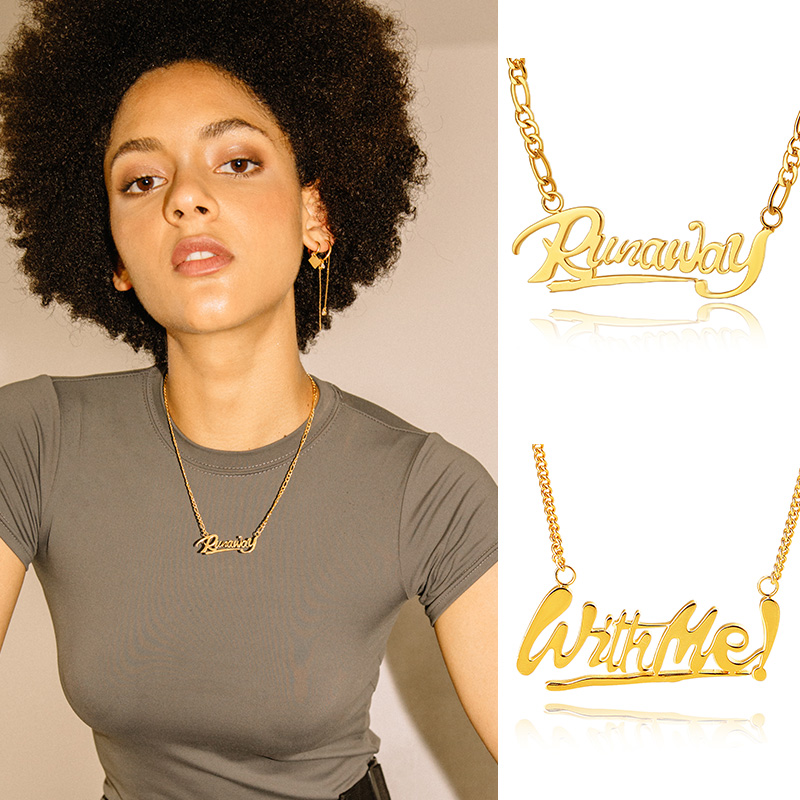 Fashion Gold runawaywithmeLetter Necklace Custom Nameplate Jewelry Hip hop Street Cuban Brand Exclusive Designer For Lovers
