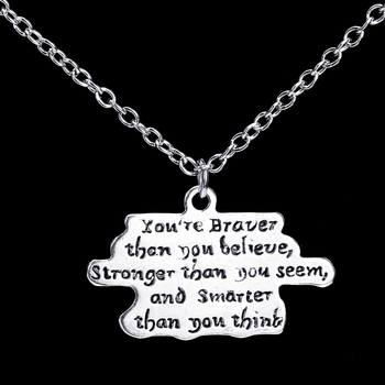 You are Braver Than You Believe Stronger Than You Seem Smarter Than Think Pendant Necklace Jewelry Gifts For Child Daughter Son image