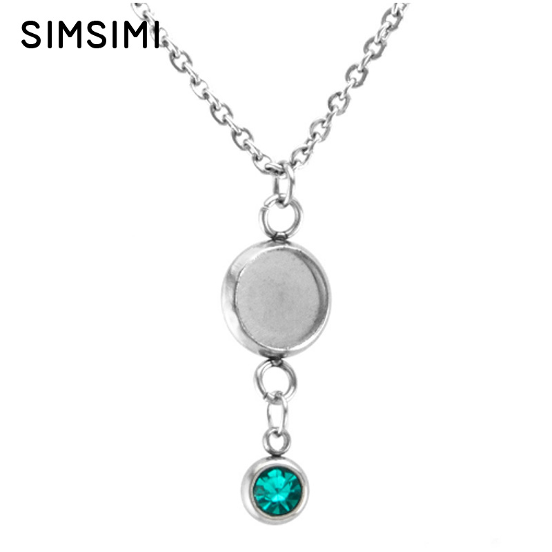 Collection Here Simsimi Stainless Steel Tray Pendant Cabochon Base With Birth/month Stones Women Necklace Personzlized Female Jewelry 12x1 Mixed Jewellery & Watches