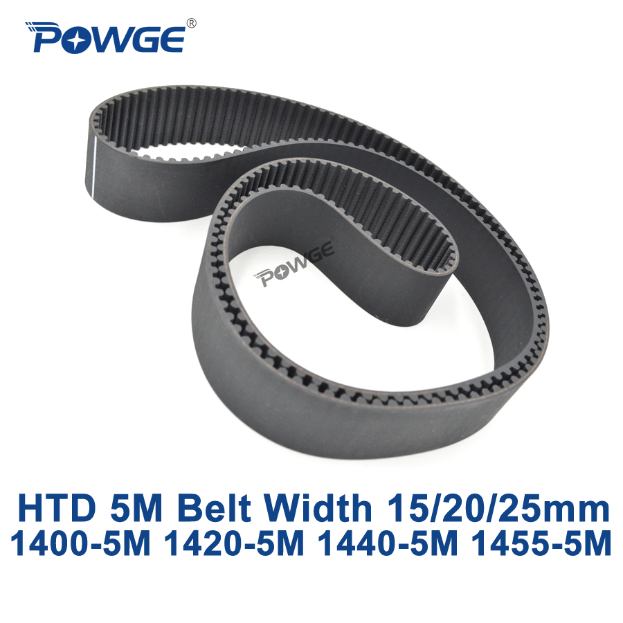 POWGE HTD 5M synchronous Timing belt C=1400/1420/1440/1455 width 15/20/25mm Teeth 280 284 288 291 HTD5M 1400-5M 1420-5M 1440-5M