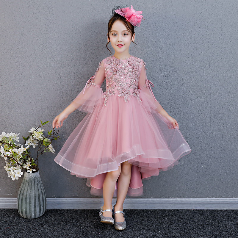 Summer New Korean Lovely Baby Kids Birthday Wedding Party Front Short Back Long Princess Lace Dress Children Teens Piano Dress 2711 k6c9 touch panel for allen bradley 2711 k6 repair replacement panelview standard 600 touch screen fast shipping