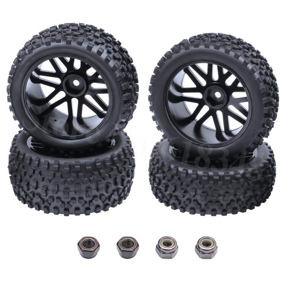 4бр. Каучук гуми предната / задната вмъкване гъба и колела шестостен 12mm за RC 1/10 бъги Warhead модел кола 2WD