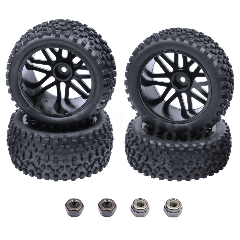 4Pcs Kumi 1/10 Buginen Renkaat Edestä / Takaa Aseta Sponge & Wheel Hex 12mm RC 1/10 Buggy Warhead Model Car 2WD 4WD
