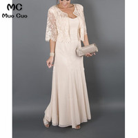 Большие размеры 2018 элегантные платья для матери невесты с курткой кружевные шифоновые платья для матери невесты на свадьбу