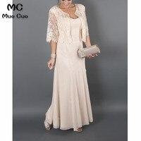 Большие размеры 2018 элегантный для матери невесты платья с курткой Кружева шифон для матери невесты платья для свадеб