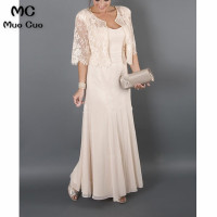 Plus size 2018 Elegant Mother of the Bride Dresses with Jacket Lace Chiffon mother of the bride dresses for weddings