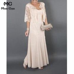 Plus size 2019 Elegant Moeder van de Bruid Jurken met Jacket Lace Chiffon moeder van de bruid jurken voor bruiloften
