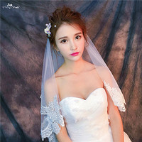 RSV59 Real Pictures Yiaibridal Lace Edge Two Layers Ivory Lace Veil