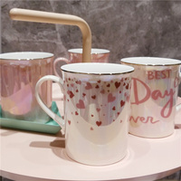 2019 new style Nordic Golden Creative Pink Girl Heart Ceramic Mug Breakfast Coffee Ceramic Cup Gold Spoon