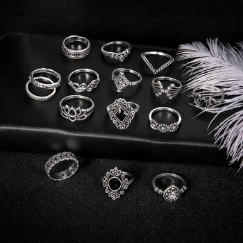 15 PCS/Set Fashion Flower Stone Midi Ring Crown Star Moon Vintage Crystal Opal Knuckle Rings for Women Anillos Mujer Jewellery 5