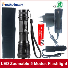 NEW Hot Sale LED Flashlight Zoomable 5Modes LED torch E17 XM-L T6 4000 Lumens + AC/Car Charger + 18650 Rechargeable Battery