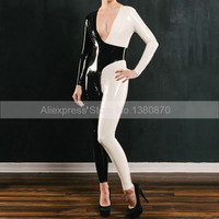 Deep V Sexy Latex Catsuit Contrast Color Black and White Rubber Latex Bodysuit Size Custom Made S LC316