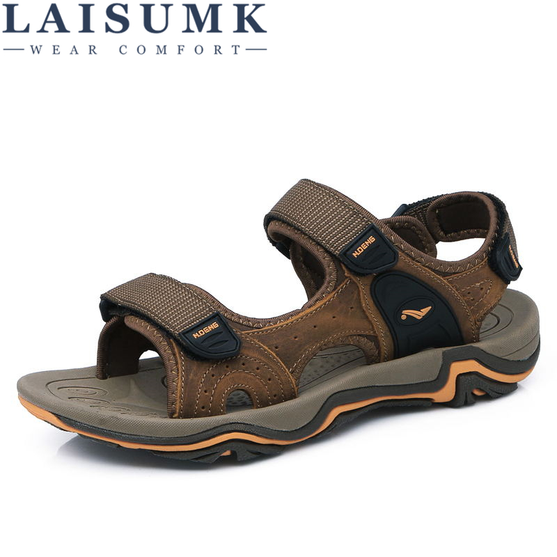 LAISUMK Leather Zapatos Handmade Men Sandals Walking Sandals Fashion Brand Outdoor Rubber bottom Non-slip Slippers Casual Shoes