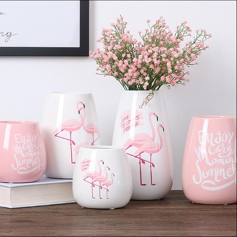 Nordic Ins Flamingo Ceramic Vase Decoration Living Room Flower Arrangement Dried Flowers Home Decoration Figurines Craft V29