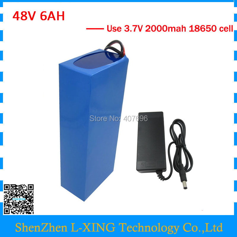 Free customs fee Battery 48v 6Ah 250W 350W 500W Electric Bike Battery 48V6AH with 2A Charger 15A BMS free customs fee 1000w 36v 17 5ah battery pack 36 v lithium ion battery 18ah use samsung 3500mah cell 30a bms with 2a charger