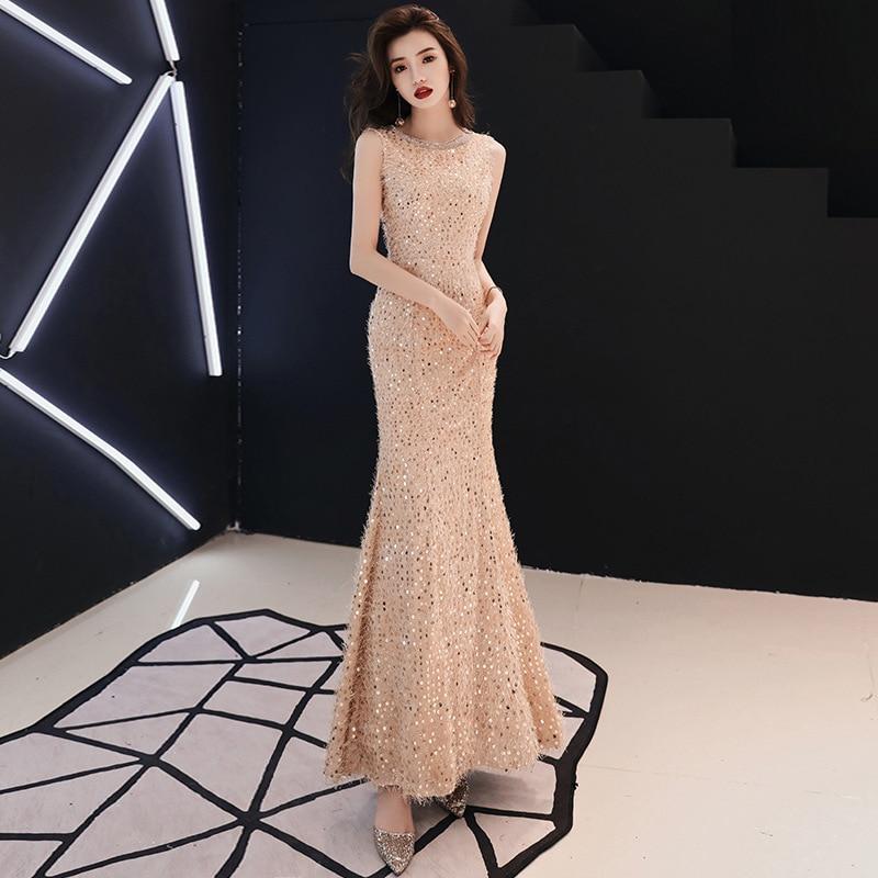 Champagne Sleeveless Evening Dress 2019 O-neck Elegant Mermaid Beading Sequined With Train Prom Gown Estelyi Ruha