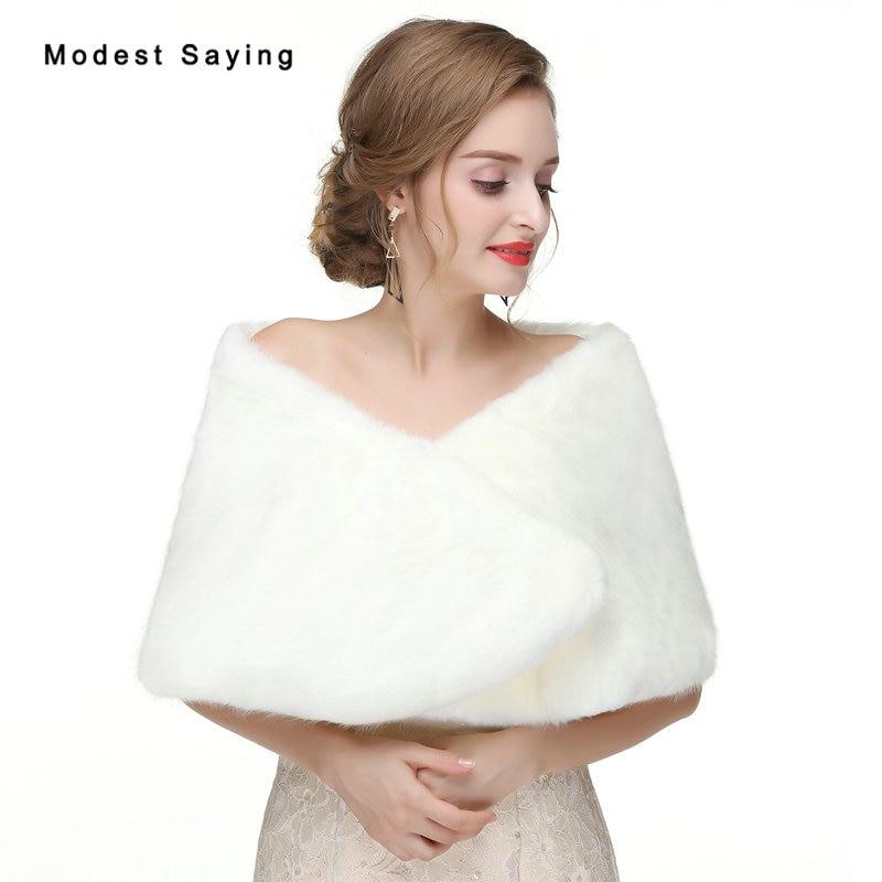 Elegant Ivory Faux Fur Wedding Bolero 2017 New Formal Bridal Shawls Women Jackets Winter Fur Warm Outerwear Wedding Accessories