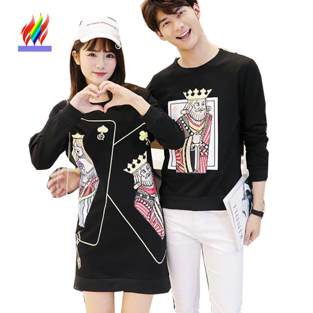 77426a12326c Matching Korean Couple Clothes For Lovers Autumn Winter Dresses New Girls  Design Casual Cute Sweet Printed