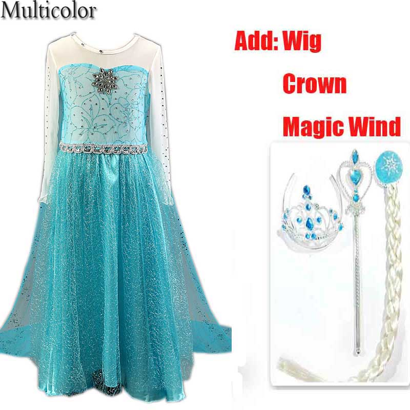 2018 hot selling girl princess dress vestidos infantis congelados anna elsa fever dress diamond dress costume add Crown WIg Set серьги bijoux annabelle серьги