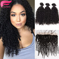 ear to ear lace frontal closure with bundles deep curly wave brazilian virgin hair with closure 4p/lot lace frontal with bundels