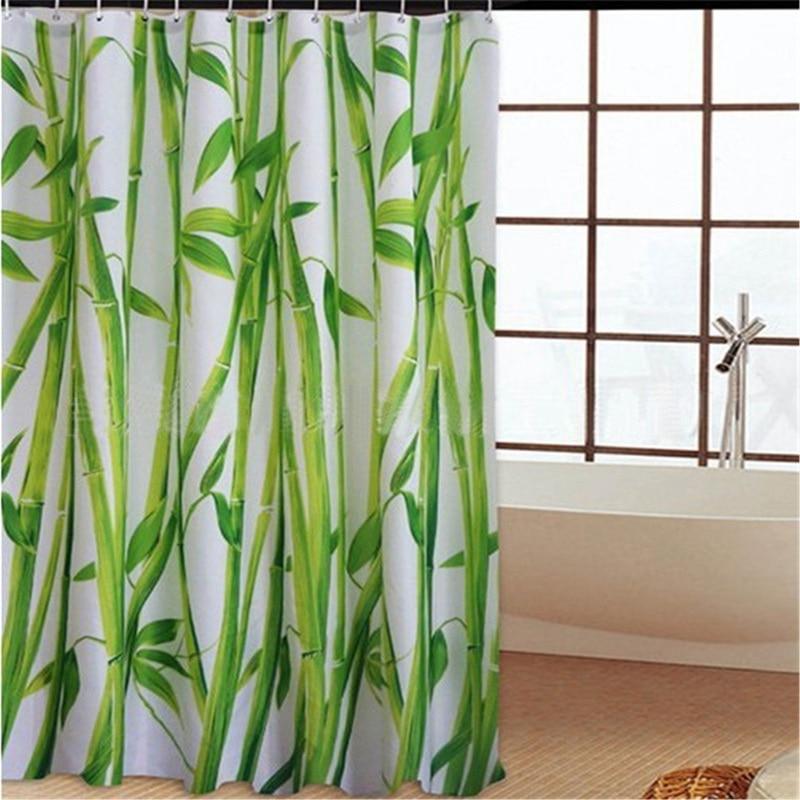180cmx180cm spa waterproof shower curtain bathroom decor flower decorations green bamboos fall treeschina
