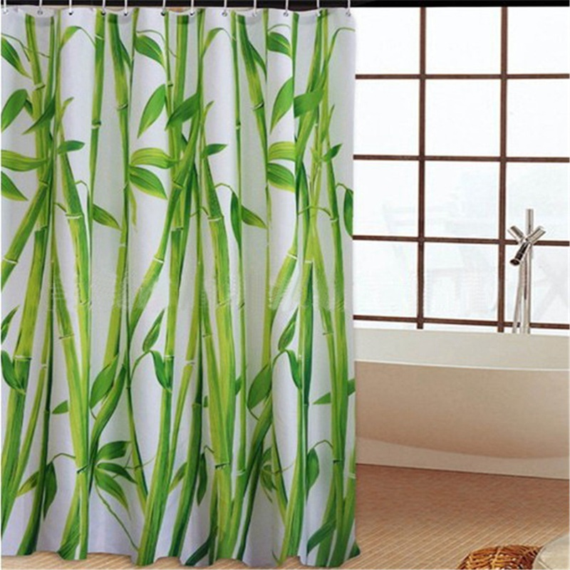 180cmx180cm SPA Waterproof Shower Curtain Bathroom Decor Flower Decorations  Green Bamboos Fall Trees(China (