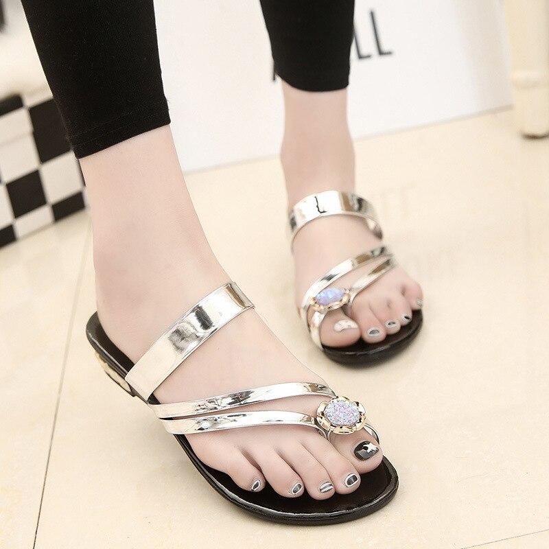 Offene Spitze Niedrigen Flache Mit Frauen Plattform Flip-flops Sommer Kristall Außerhalb Hausschuhe Frauen Solide Damen Schuhe