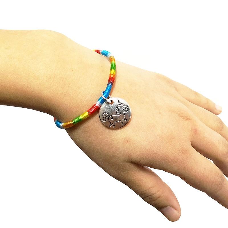 Frugal New Rainbow Bracelet Handmade Diy Metal Round Pendant Carving Unicorn Length About 18cm Holiday Gift Best Friend Charm Bracelet