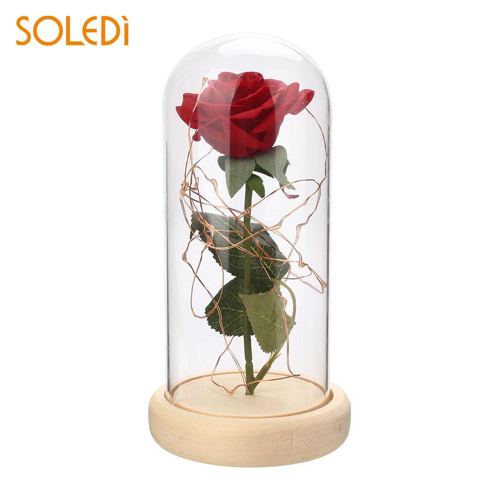 Decorating Glowing Forever Rose Flower Preserved Fresh Flower Flashing Gift Ornament Restaurant Hotel Rose Glass Cover