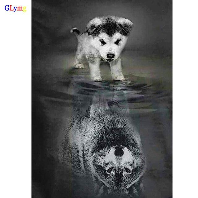 Glymg Diy Embroidery Handicrafts Dog Reflection Wolf Diamond