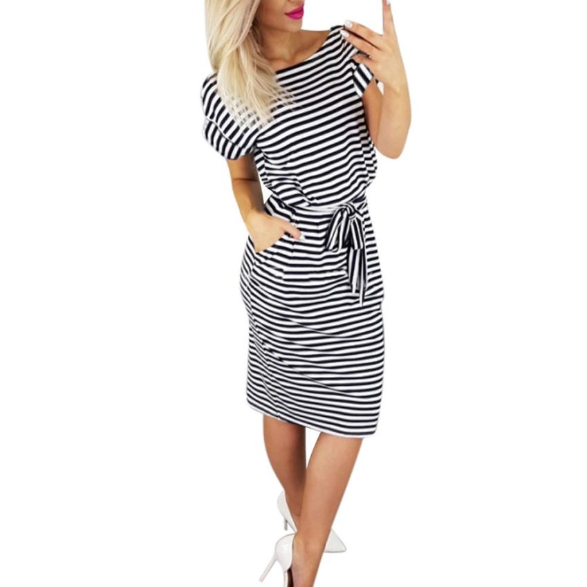 2018 women Summer Striped dress Sexy Female Slim Fit Casual vestidos Ladies Elegant Tie Waist dress Party Beach vestido WS&40
