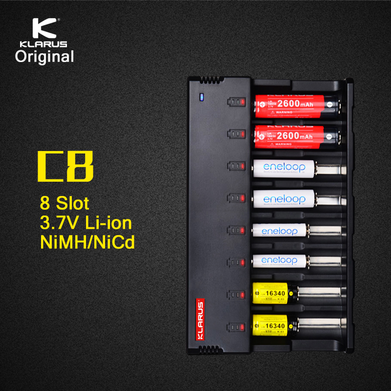 Original Klarus C8 8 Slot Intelligent Battery Charger with 5V USB Output Power Bank Function for